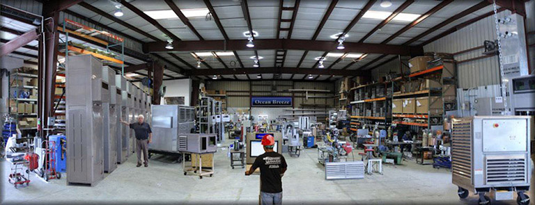 Ocean Breeze building from the inside: Manufacturing air conditioners and chillers.